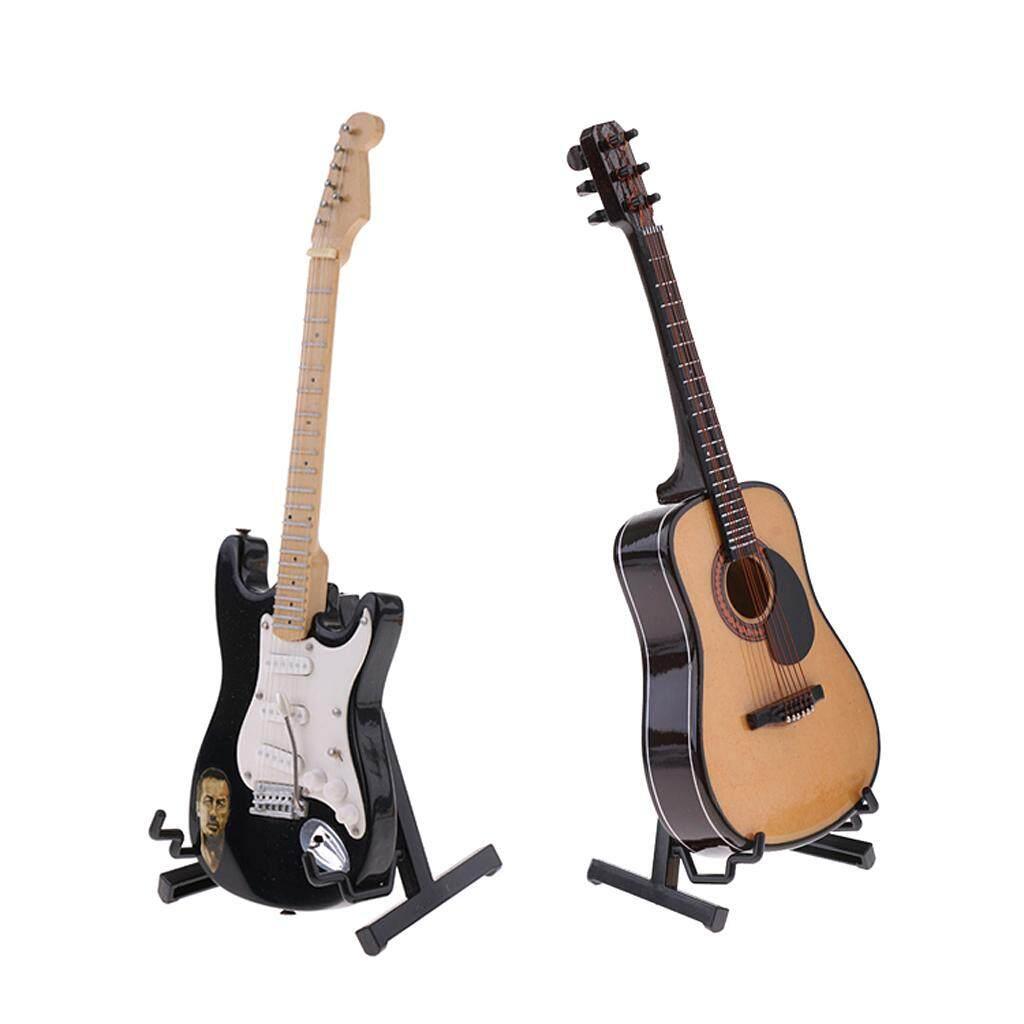 Gazechimp 1/6 Scale Action Figures Dollhouse Accessory 2pcs Guitar Model Miniature Musical Instrument for