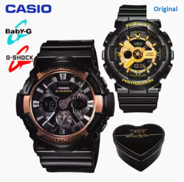 (Ready Stock) G Shock Baby G GA200 BA110 Men Women Couple Set Sport Watch Dual Time Display Water Resistant Shockproof and Waterproof World Time LED Light Lover Sports Wrist Watches BA-110-1A/GA-200RG-1A Malaysia