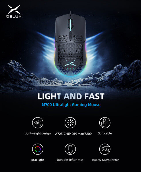 Delux M700 A725 RGB Gaming Mouse 67g Lightweight Honeycomb Shell Ergonomic Mice with Ultra weave Cable For Computer Gamer Malaysia