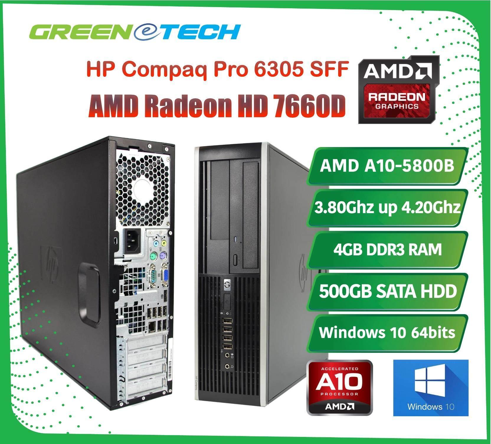 Refurbished HP Compaq Pro 6305 SFF Desktop AMD A10-5800B 3 8Ghz Up to  4 20Ghz Quad Core / 4GB DDR3 RAM / 500GB HDD / DVD-ROM / 3 Months Limited