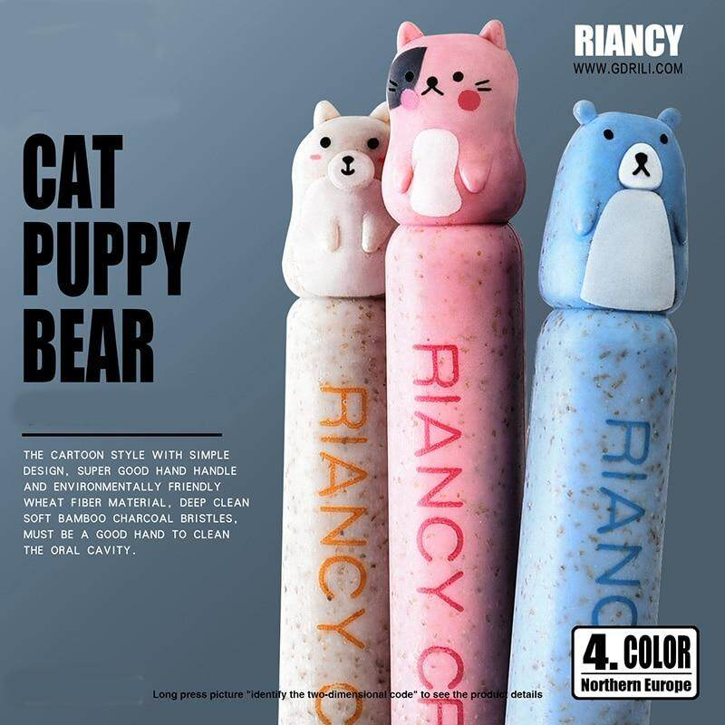 New 1 pc Bamboo Cartoon Family Toothbrush Natural Wheat Straw Safety Oral Care Nano-antibacterial Mini Heads For Adults