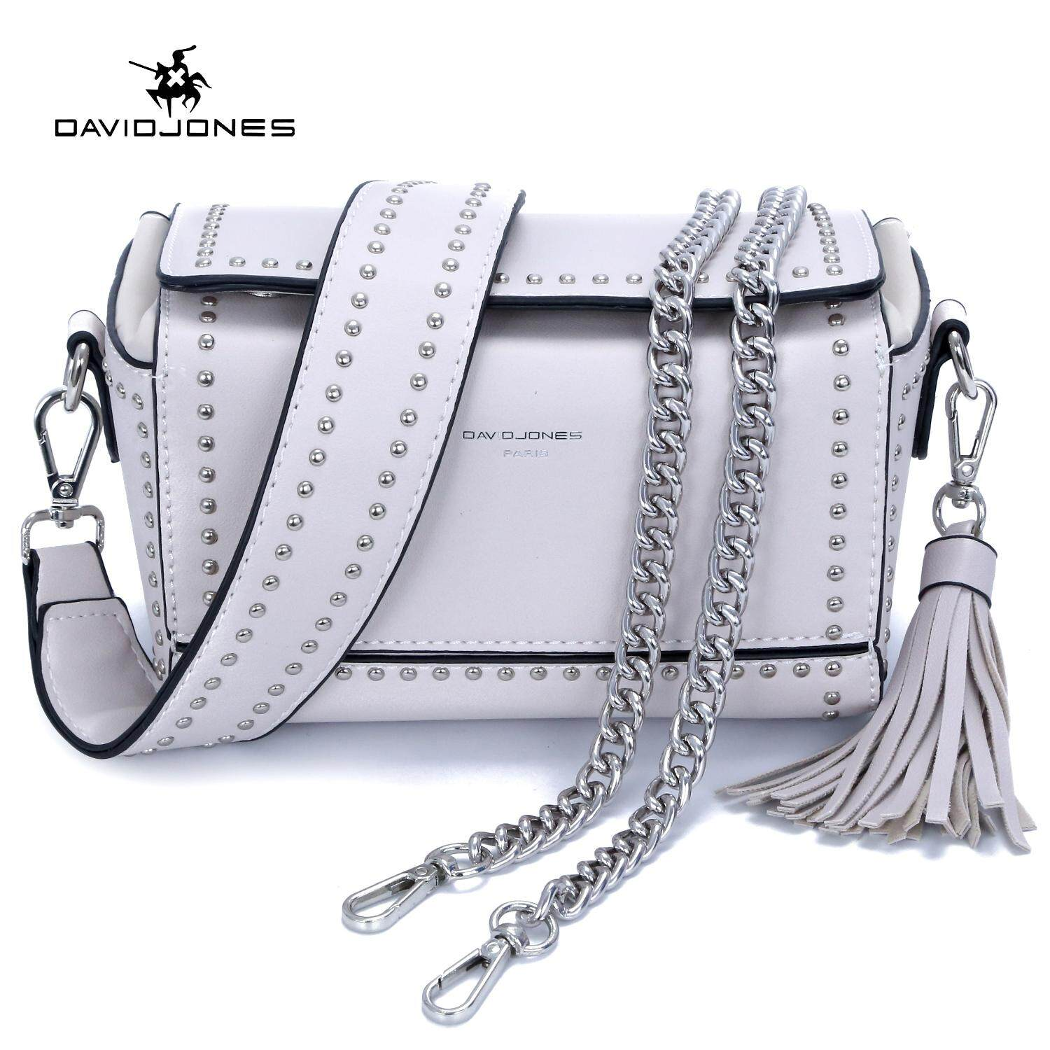 d48ea64d2512 DAVIDJONES women crossbody bag pu leather female shoulder bag small spring  rivets lady wallet bag girl summer tassel handbag free shipping