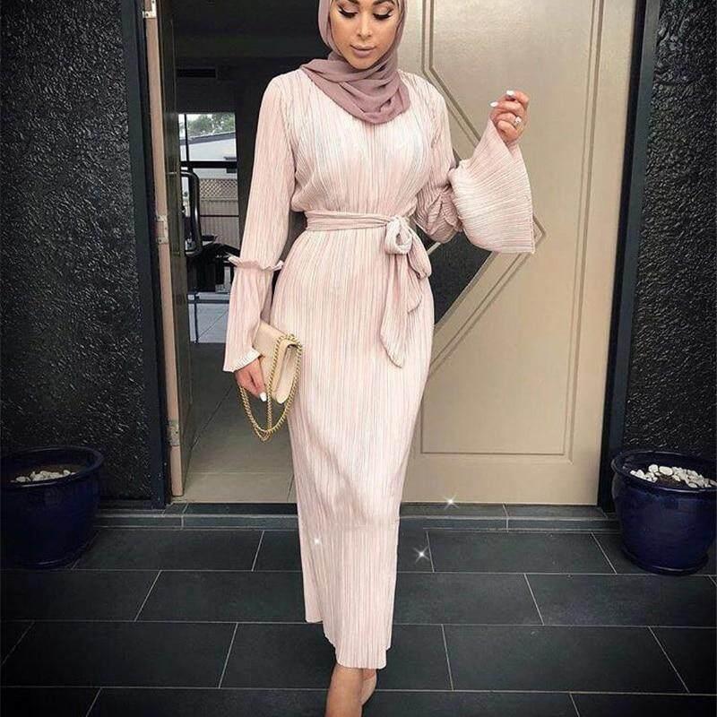 a7f78b3491 Muslim Wrinkled Pencil Skirt Pliss Maxi Dress Trumpet Sleeve Abaya Long  Robes Tunic Middle East Ramadan