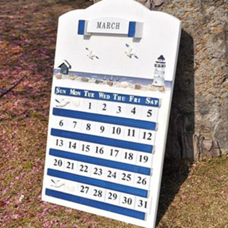 Hot Sales Home Furnishings Blue And White Classic Solid Wood Perpetual Calendar