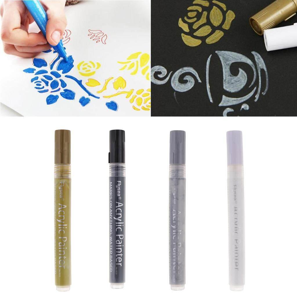 Mua BolehDeals 4 Chống Thấm Nước Không độc Acrylic Bút Đánh Dấu TỰ LÀM Nghệ Thuật Accs cho Giấy Kính Kim Loại