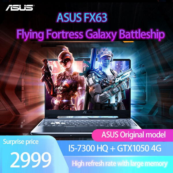 laptop Notebook computer, genuine ASUS Flying Fortress FX63, 7th generation I5-7300 quad-core CPU, 8g memory and 128G SSD + 500G HHD /GDDR5 gaming graphics card GTX1050 4G independent display, /built-in camera, wireless WIFI Malaysia