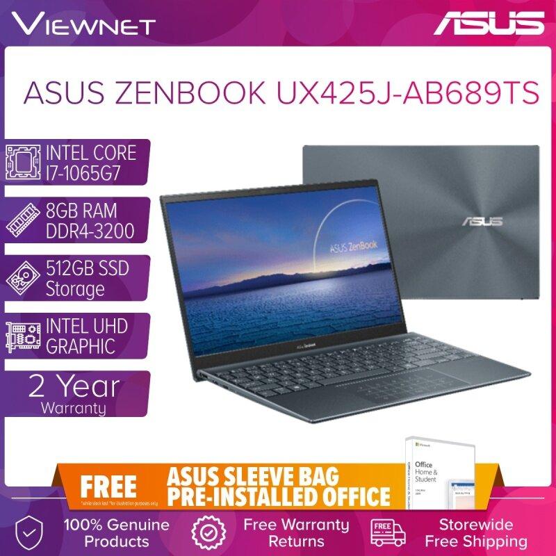 ASUS ZENBOOK 14 UX425J-AB689TS LAPTOP INTEL CORE I7-1065G7 8GB DDR4LP 512GB SSD INTEL HD GRAPHIC W10 14 FHD PINE GREY 2 YEARS ASUS WARRANTY Malaysia