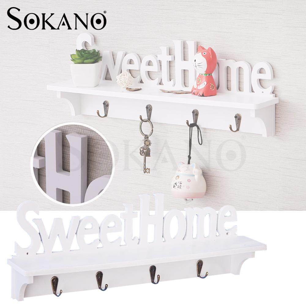 904d5b6c0be5f Malaysia. (RAYA 2019) SOKANO Korean Sweet Home Wall Decorative Clothes Hook  Rack Wall Mounted Carved