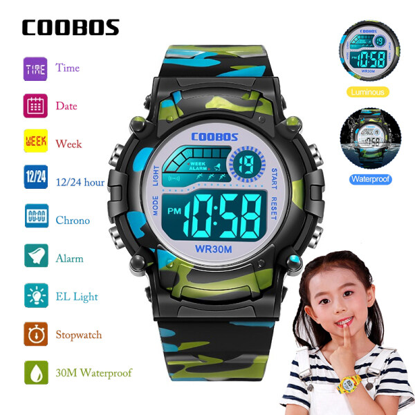 XHL COOBOS Children Watch Colorful Luminous Calendar Waterproof Watches Boy Girl Student LED Electronic Kids Wristwatch Malaysia