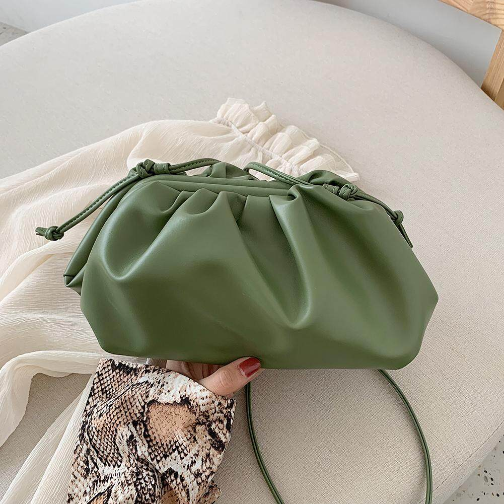 [Pinfect] Fashion Women Japanese Style Bundle Shoulder Crossbody Bag PU Leather Pure Color Ladies Girls Solid Color Totes Clutch Bag