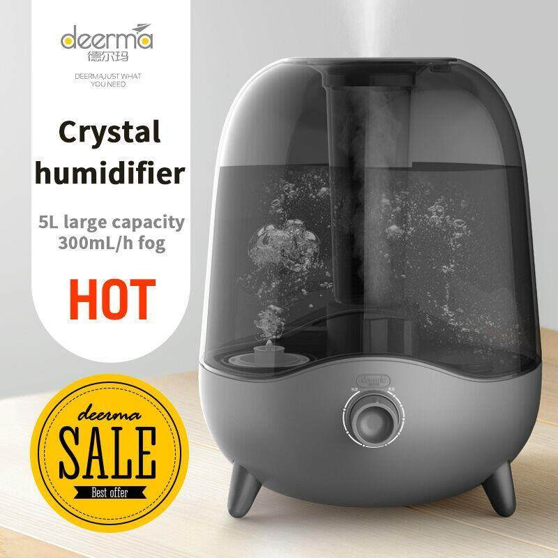 Deerma DEM-F323 25W Humidifier Large 5L Capacity Crystal Mute Mini Ultrasonic Air Humidifier Bedroom Living Room Dual Use Singapore