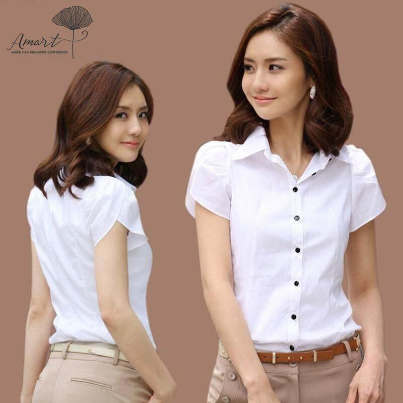 5bfb0aee8e Amart Fashion Women Summer Formal Shirts Short Sleeves Slim Fit Office Lady  Turn-down Collar