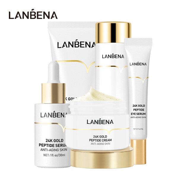 LANBENA 24K Gold Anti Aging Set Peptide Foam Facial Cleanser Bright Serum Beauty Cream Original Toner Fresh Eye Serum 5 pcs