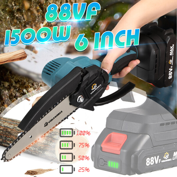 88VF 6 Inch 1500W Electric Chainsaw Cordless One-Hand Saw Wood Cutter Pruning Saw Gardening Tool