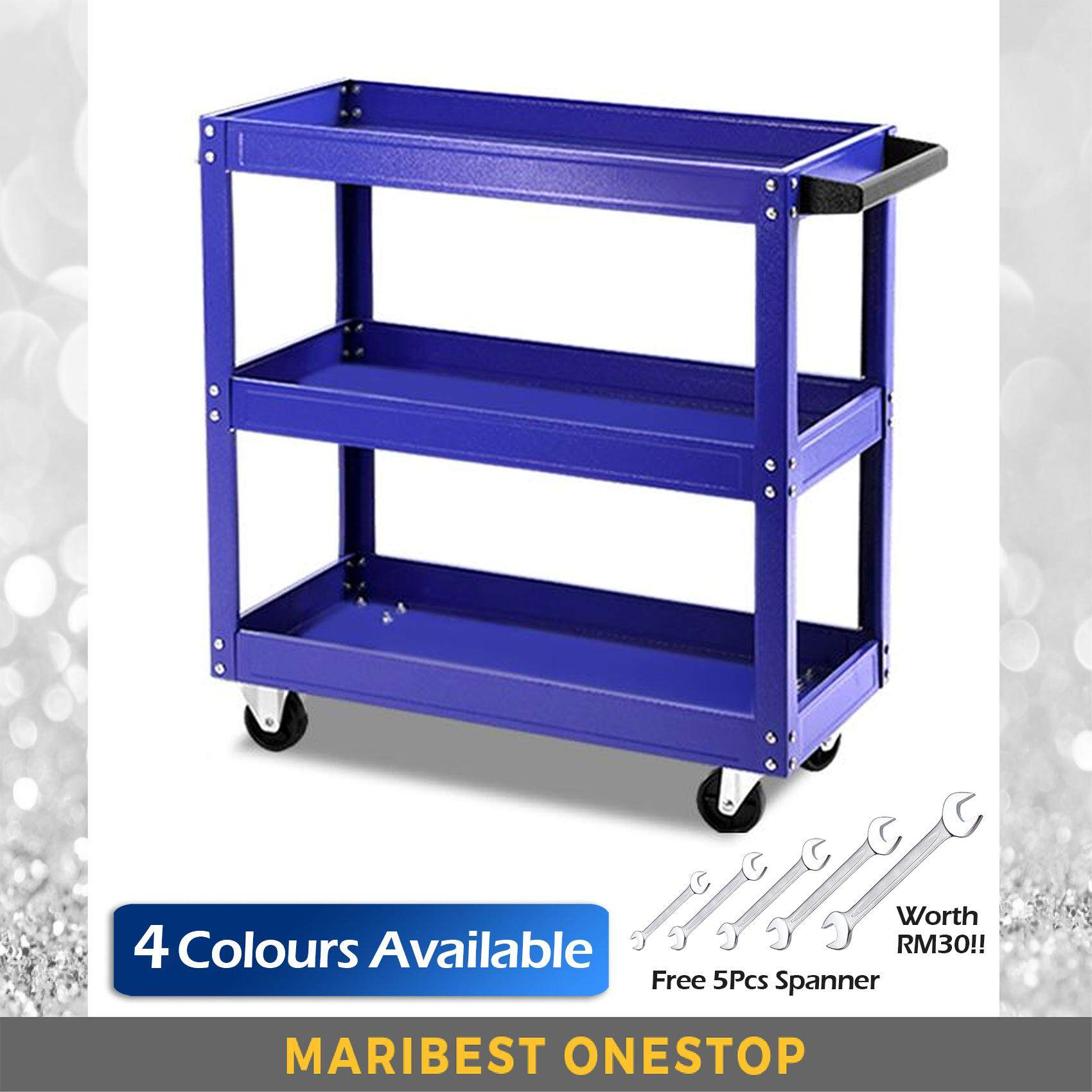 3 Layers Service Cart Metal Steel Tool Shelf Storage (Red/Blue/Orange/Grey) - Free 5 pcs Spanner