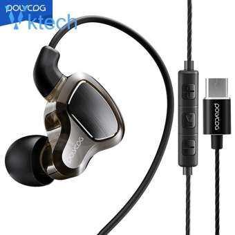 D6t TYPE-C สายหูฟังคู่ย้ายขดลวดเหงื่อหลักฐานในหูหูฟังพร้อมไมโครโฟนสำหรับ OPPO สำหรับ Xiaomi สำหรับหัวเว่ย