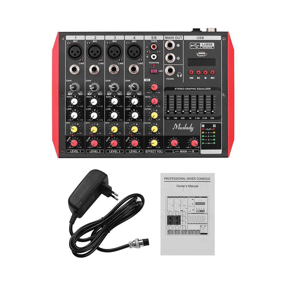 Muslady D6 Portable 6-Channel Mixing Console Mixer 7-band EQ Built-in 48V Phantom Power Supports BT Connection USB MP3 Player for Music Recording EU plug