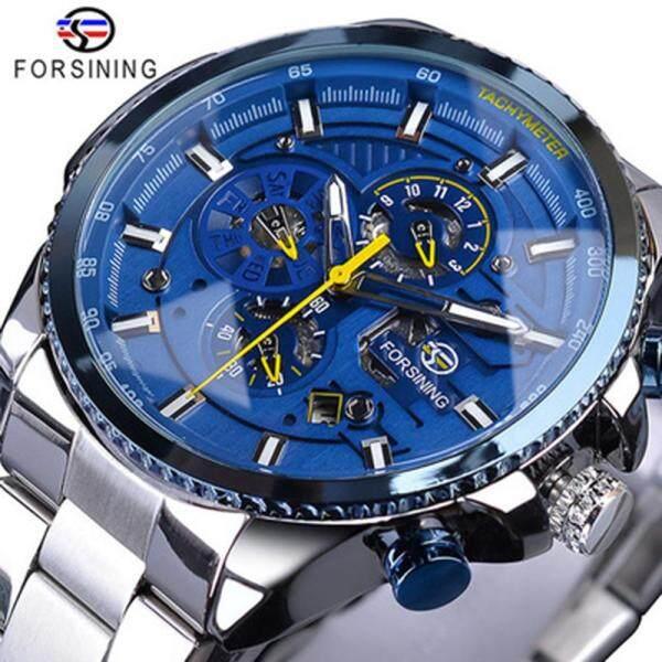 FORSINING Men Three Dials Stainless Steel Band Calendar Analog Watch Waterproof Automatic Mechanical Wrist Watch Malaysia