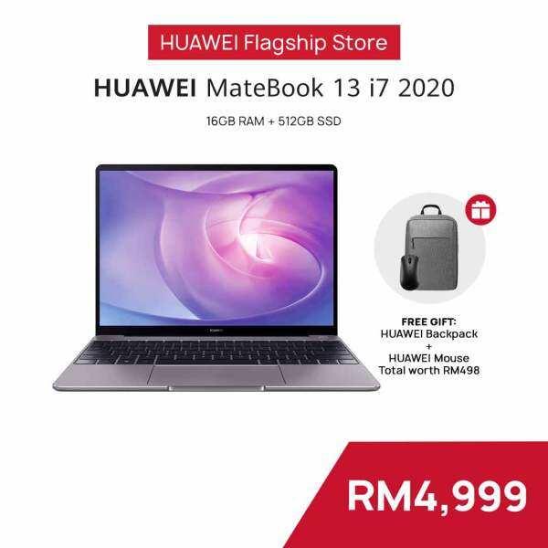 HUAWEI MateBook 13 i7 2020 Laptop   16GB + 512GB   FREE Mouse + Backpack, Free Shipping Malaysia
