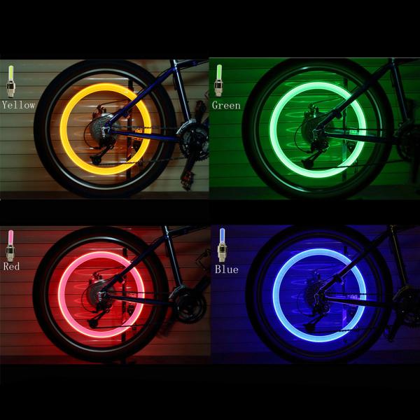 1Pc Phổ Đèn Pin LED Neon Đèn Xe Đạp Lốp Xe Hơi Lốp Van Bánh Xe Niêm Phong