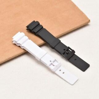 Silicon Mềm Rắn Đen Trắng Watchband Dây Đeo Nhựa Chống Thấm Phụ Kiện Đồng Hồ Cho Casio MRW-200H Người Đàn Ông Của Đồng Hồ Đồng Hồ Dây Đeo Tay 18Mm Dây Đeo thumbnail