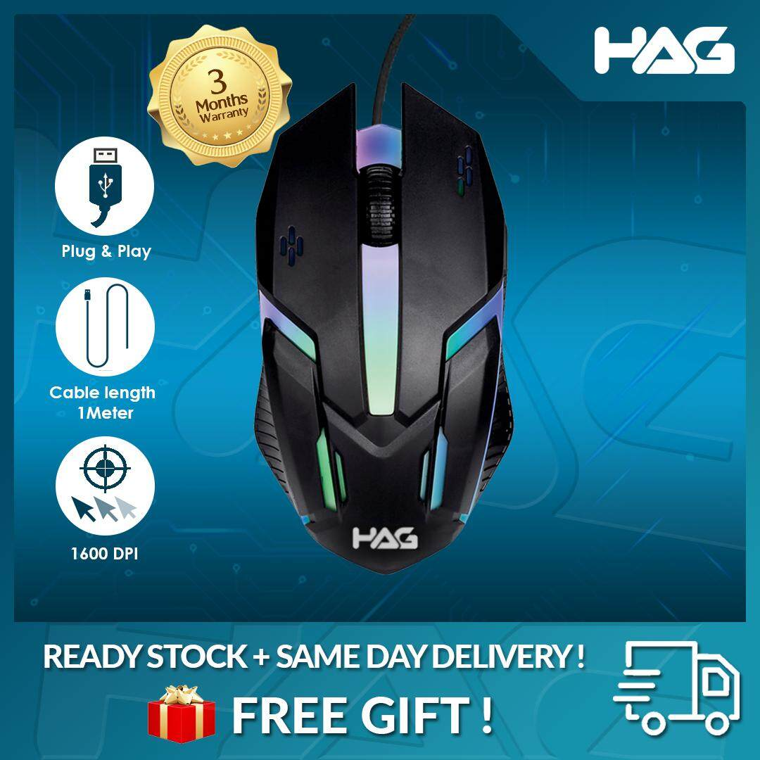 HAG M300 Wired Optical Gaming Mouse RGB Light Weight DPI For Laptop PC USB Malaysia