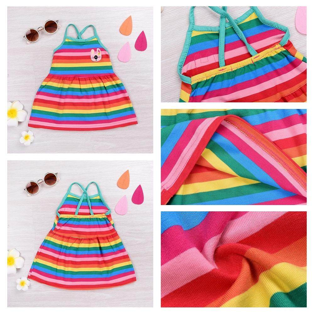 Toddler Newborn Baby Girl Rainbow Print Dress Summer Holiday Straped Cute Party Dresses By Mikrdoo Store.