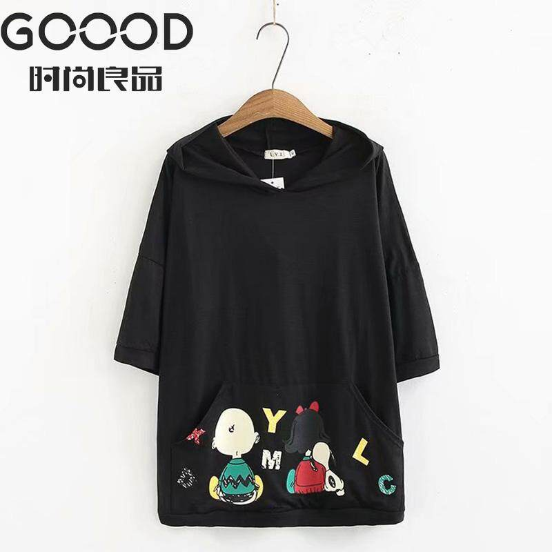 981beec9e84c 2019 New Fashion Plus Size Women T-shirt 3 4 Sleeve Polyester Hooded Cartoon