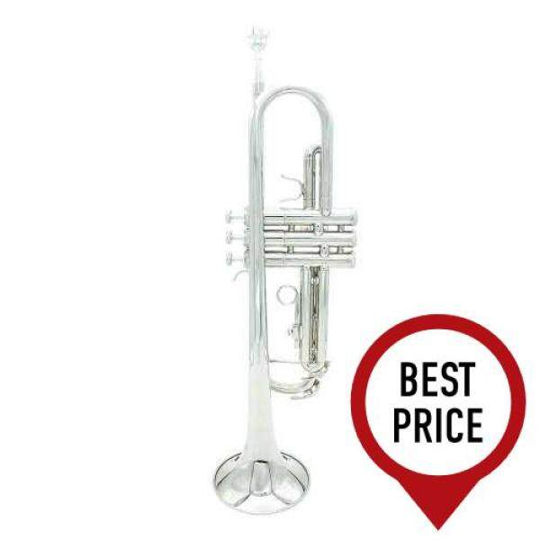 Trumpet Bb B Flat Silver-plated Brass Exquisite with Mouthpiece Cleaning Brush Cloth Gloves Strap (Silver) Malaysia