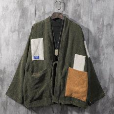 Áo Khoác Kimono Nhung Kẻ Phong Cách Nhật Bản Cho Nam Áo Khoác Mỏng Dáng Rộng Ngoại Cỡ Haori Trễ Vai Thiết Kế Vá Màu