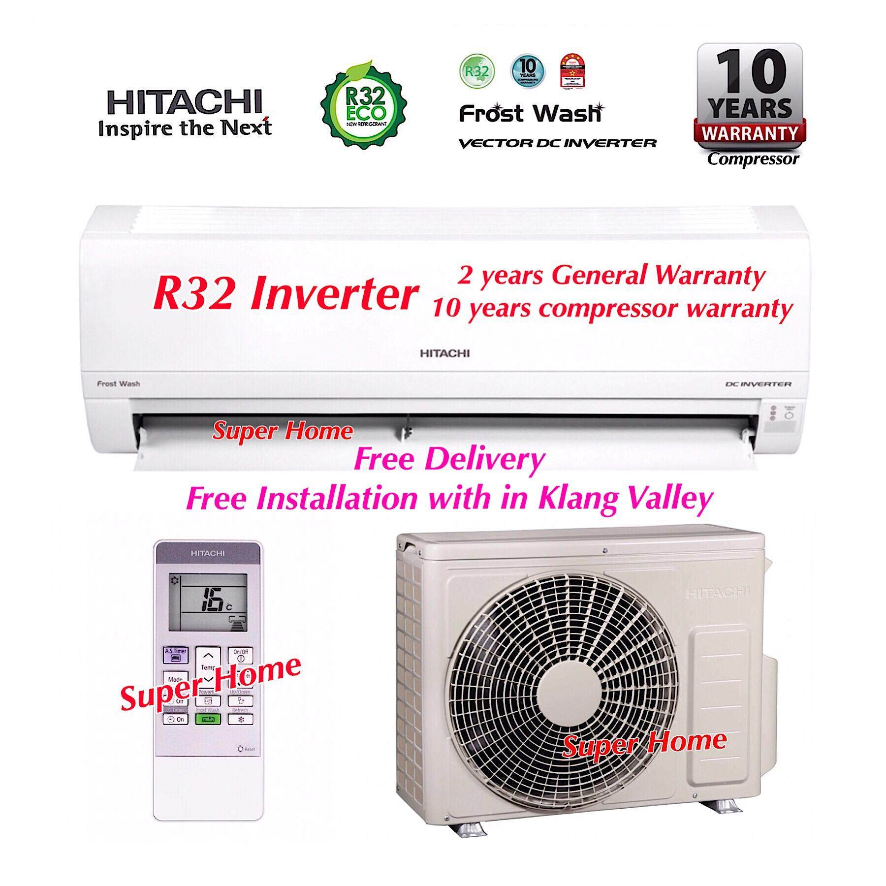 Hitachi 1.5hp Standard Inverter Series RAS-XH13CKM & RAC-XH13CKM Vector Inverter Wall Type Air Conditioner (R32) + Free Delivery + Free Installation Services (Only with in Klang Valley)