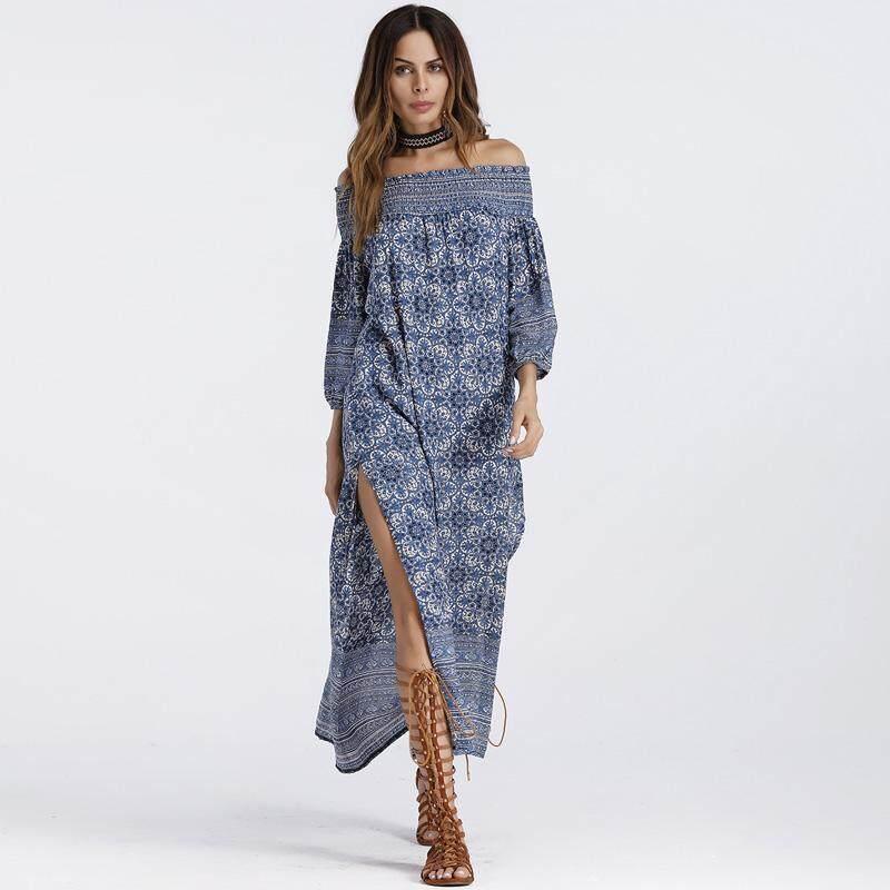 fccd008d2c 4UGoods Off shoulder split beach dress boho clothing 2018 summer slash neck  long maxi print bohemian