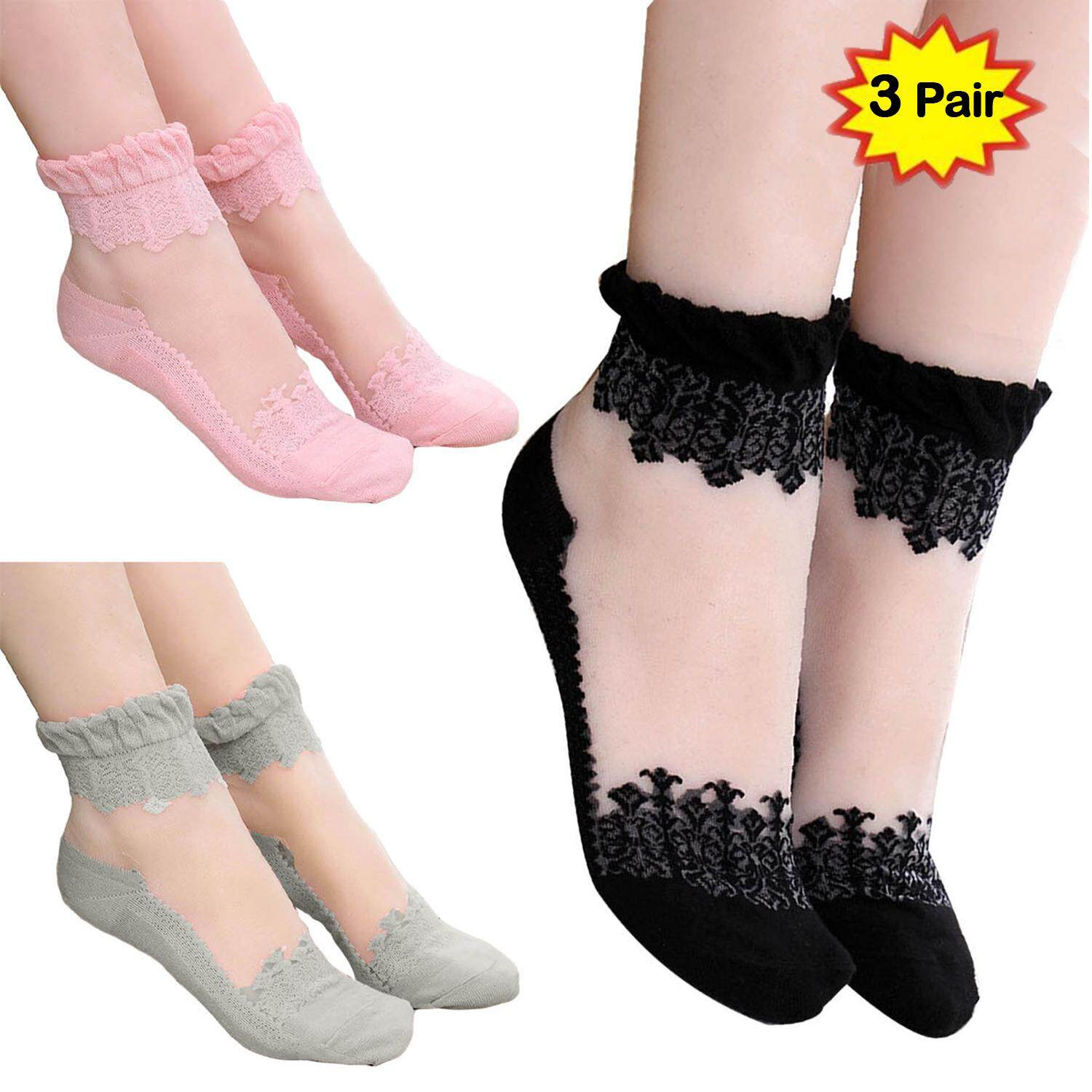 c51d109d7a7661 3 Pair Women Lady Girl Ultra-thin Elastic Transparent Lace Silk Short Socks  with Anti