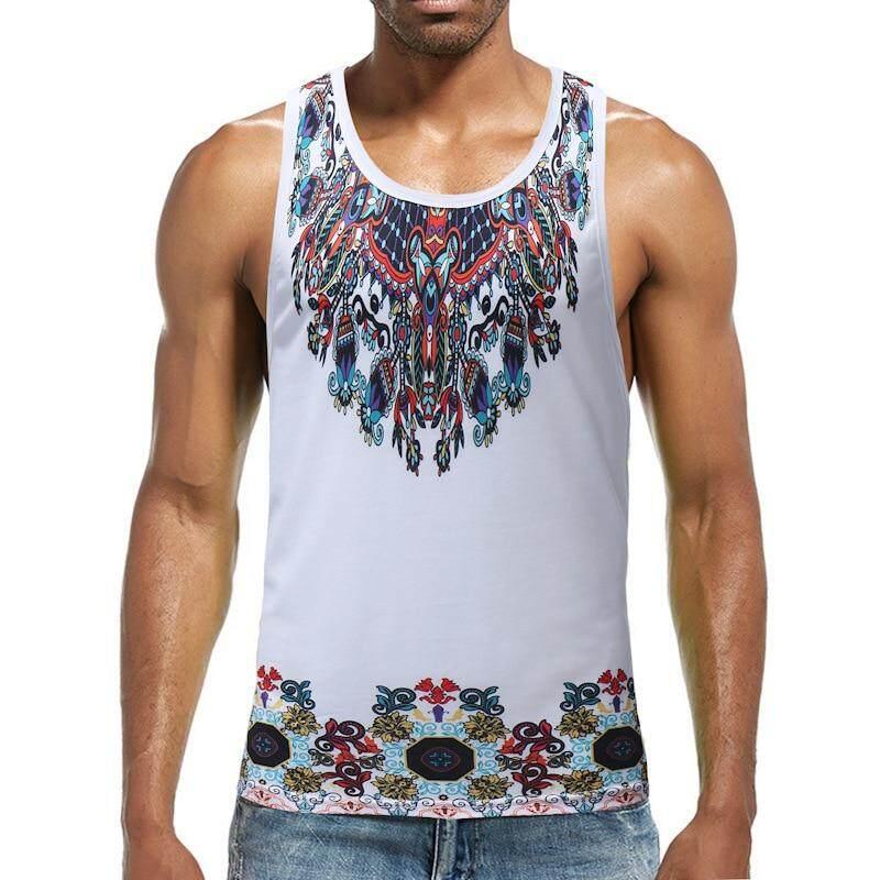 d821a3d4 Cheap Men's Fashion African Dashiki Print Slim Fitted Tank Tops Sleeveless  O-Neck T-