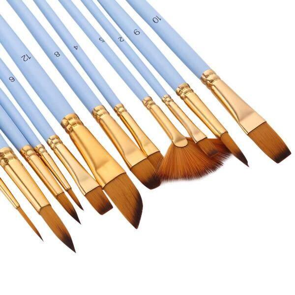 Mua 12 Cái Fine Chi tiết Bàn chải Sơn Set Đôi Màu Taklon Bàn chải tóc cho thu nhỏ Dầu acrylic Tranh màu nước Người mới bắt đầu Học sinh Vẽ nghệ sĩ