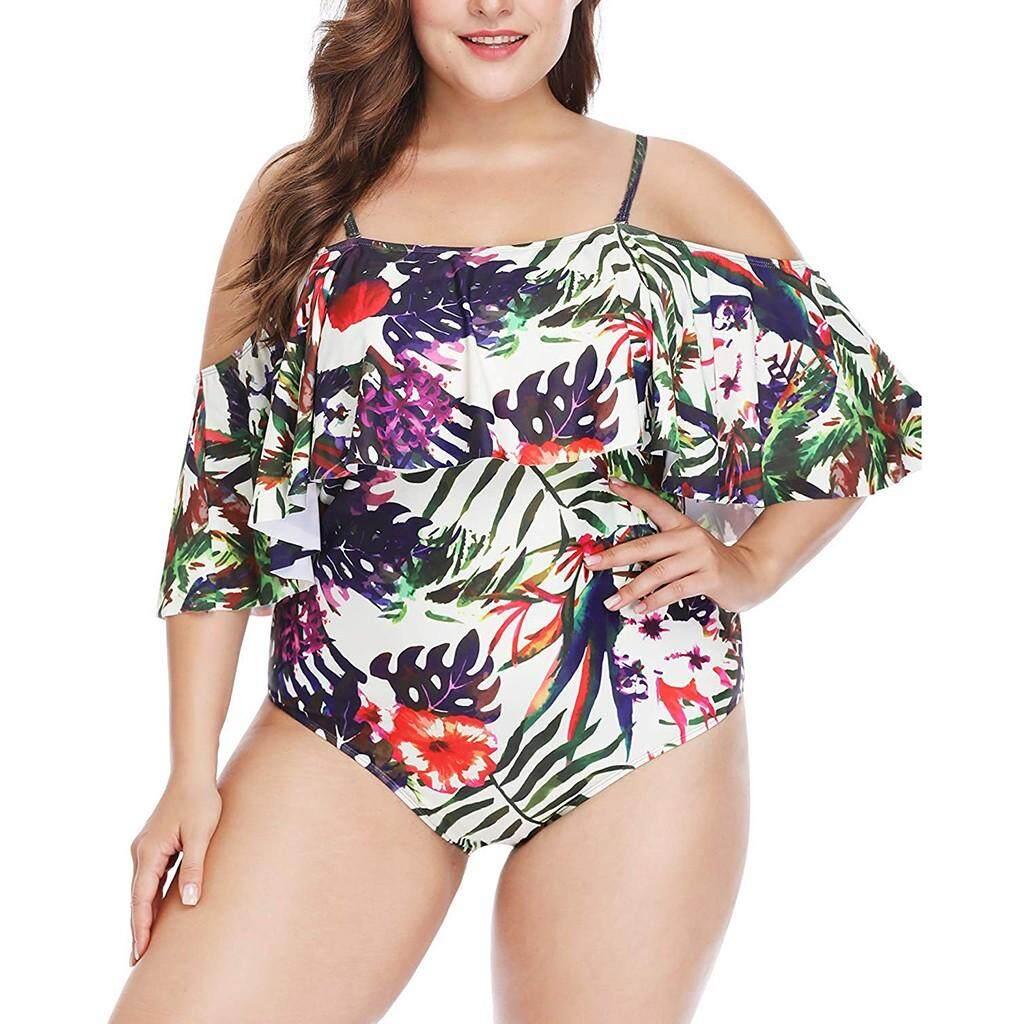 Stin Women Plus Size Ruffle Flounce Off Shoulder Swimwear Printed One Piece Swimsuits By Stinsonshop.
