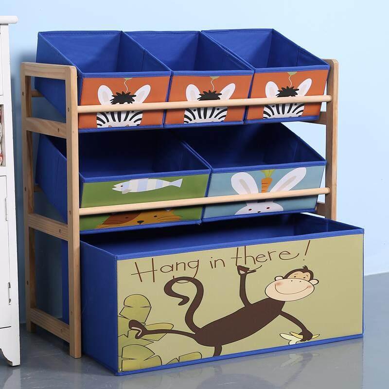 RuYiYu - 65 X 60 X 30cm, Kids Toy Organizer and Storage Bins, Non-woven Fabric Drawers in cartoon Pattern, Toy Storage Rack, Natural/Primary