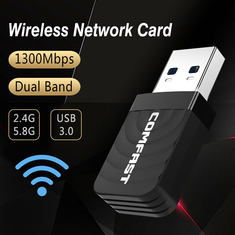 1300Mbps 5.8//2.4GHz WiFi Dongle Adapter 802.11 b//g//n USB Wireless Network Card