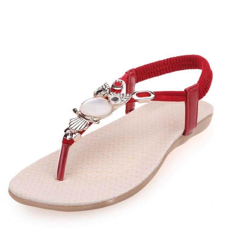 【Ready Stock】fashion Thời Trang Phụ Nữ Mùa Hè Giày Sandal Cú Đính Hạt Dép Phẳng Thoải Mái Đi Biển Cho Nữ Giá Cực Ngầu