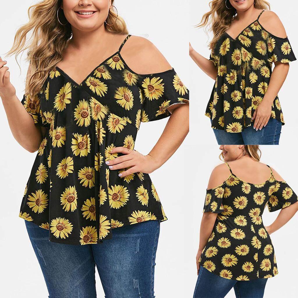 Ukuran Ukuran Besar Musim Panas Blus Wanita Plus Ukuran Kasual Leher V Bunga Cetak Sling Strapless T-shirt Top T baju Kaos Kemeja Tshirts untuk Wanita