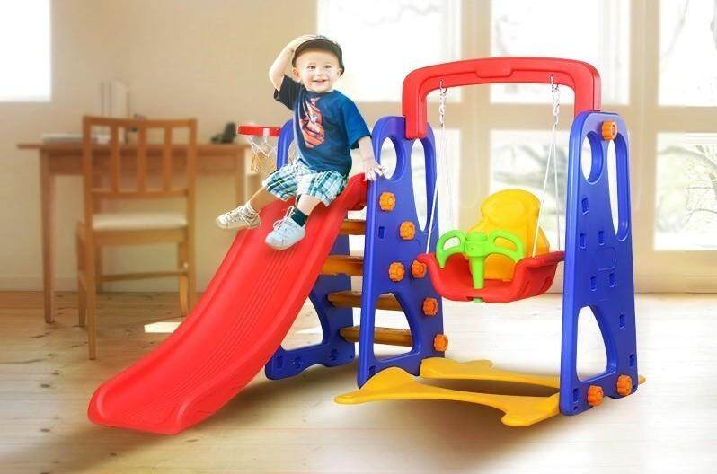 Kids New Colourful Playground Kids Slide Swing 3 In1 Playground Net Gelongsor By Rc King Malaysia.