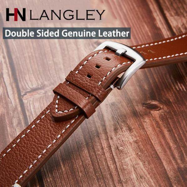 LANGLEY High Quality Genuine Leather Watch Band Handmade Cowhide Watch Strap Mens Business Watchband 18/19/20/21/22mm Malaysia