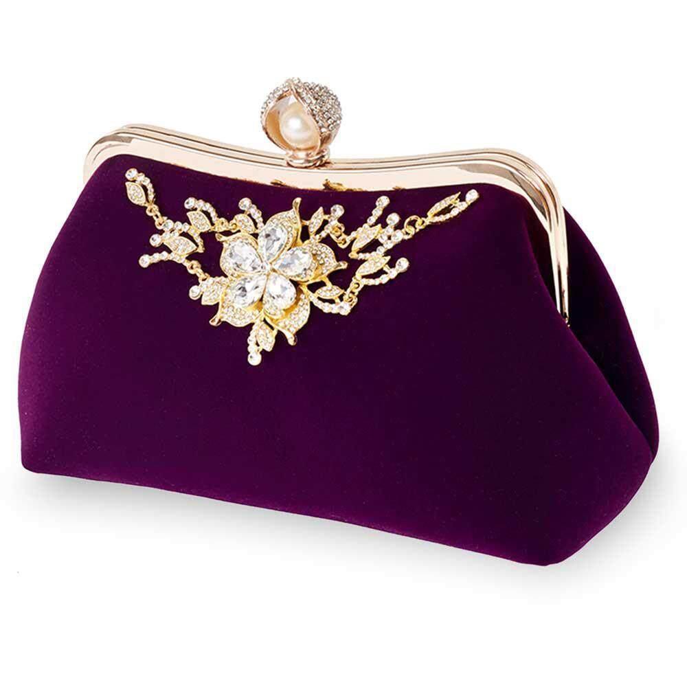 b8a84c5a006b76 SilyNew Suede Handbag Clutch Bag with Inner Pouch Rhinestone Prom Purse Bag  for Women Ladies Girls
