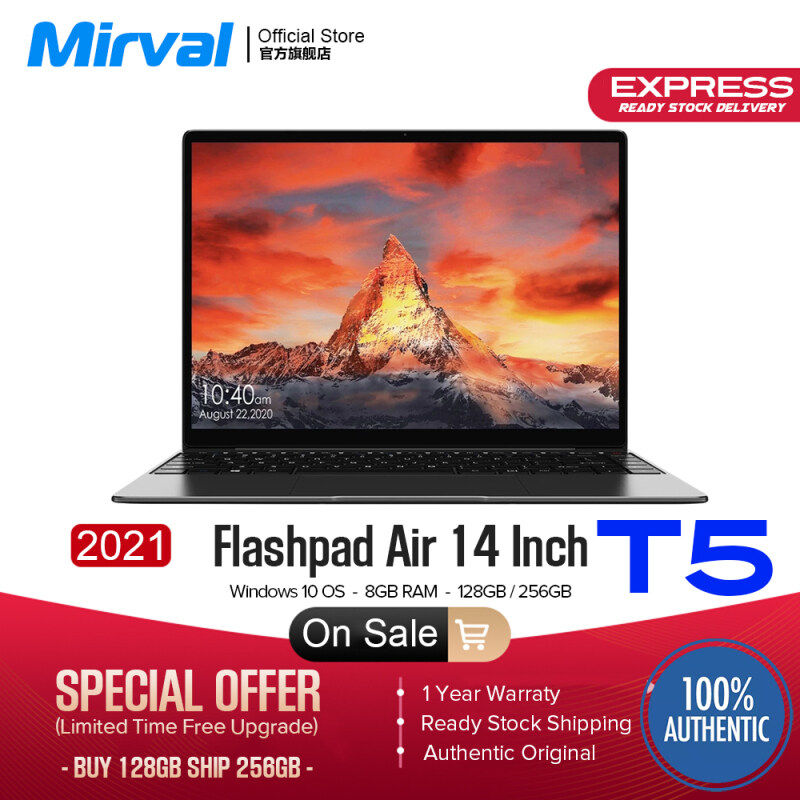 【2021 NEW】Mirval T5 Portable Laptop Windows 10 J4355 14 Inch 8GB RAM 128GB 256GB ROM SSD Computer Gaming Notebook Malaysia