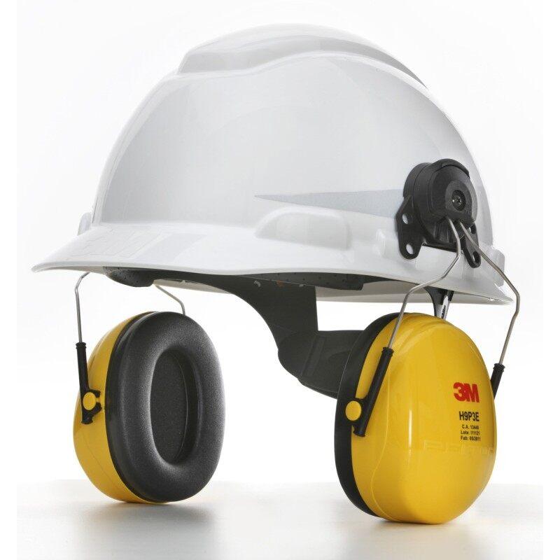 3M H-701R Hard Hat White; 4-Point PinLock + 3M H9P3E Helmet Attached Earmuff, Yellow