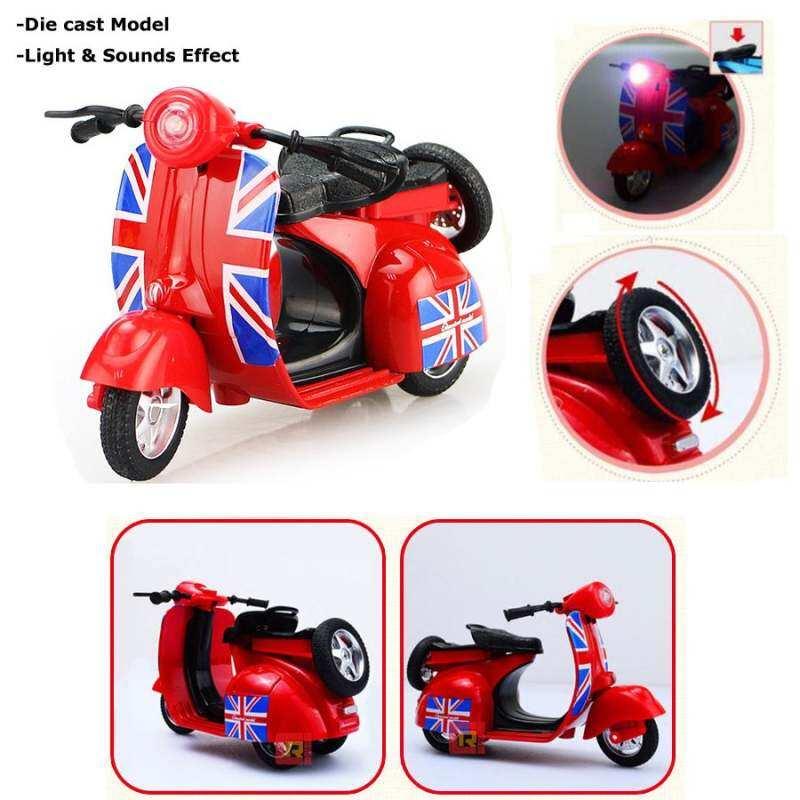 Kmdshxns 1:14 Diecast Skala Vespa Sepeda Motor Skuter dengan Cahaya dan Suara-Merah