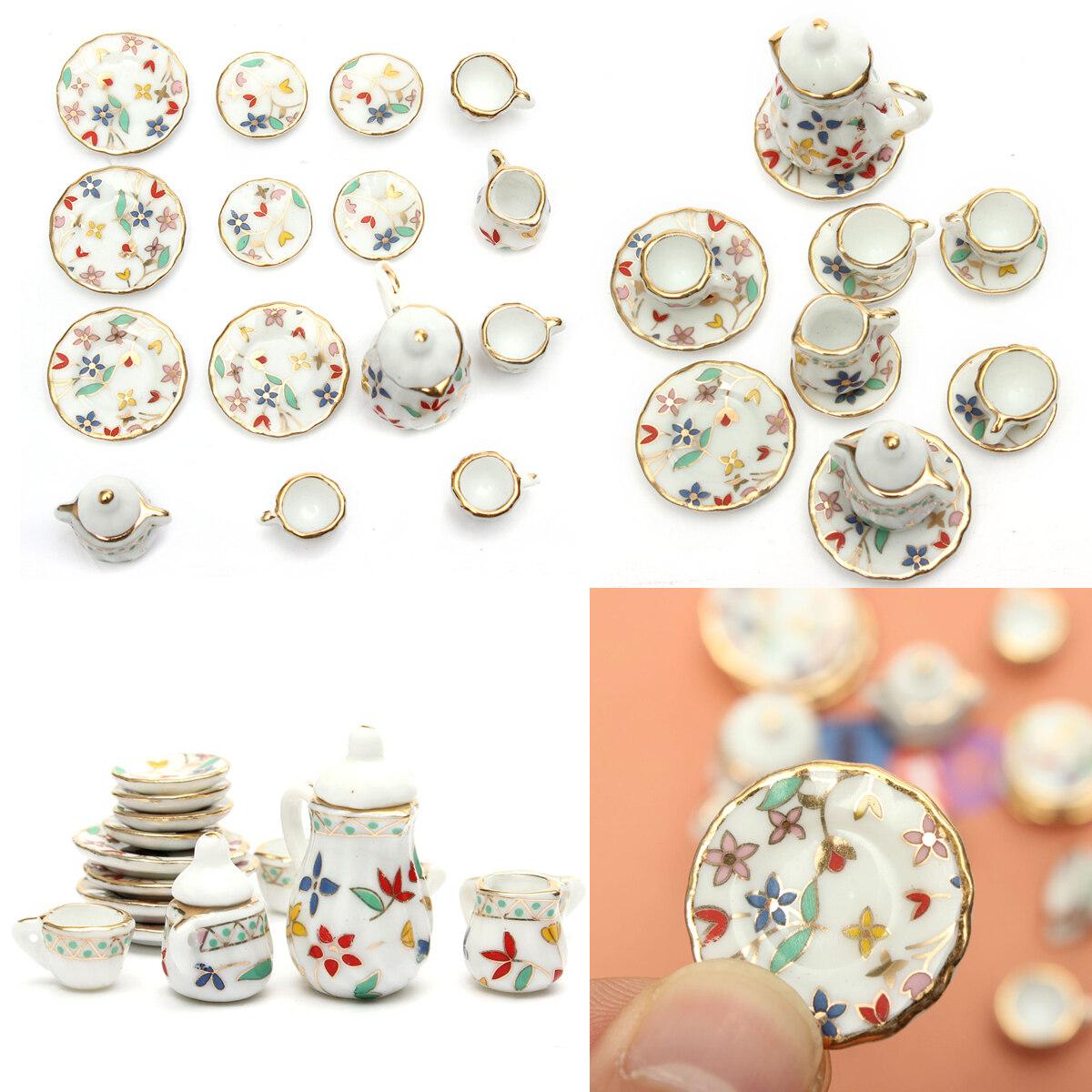 1 Set 15pcs Dollhouse Miniature Furniture Dining Porcelain Tea Set Floral Print - intl