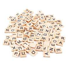 100 Wooden Scrabble Tiles Black Letters & Numbers For Crafts Wood Uk Sell