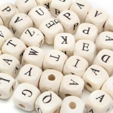100/200/300pc10mm Natural Mixed Wooden Alphabet Letter Cube Craft Charms Beads By Audew.