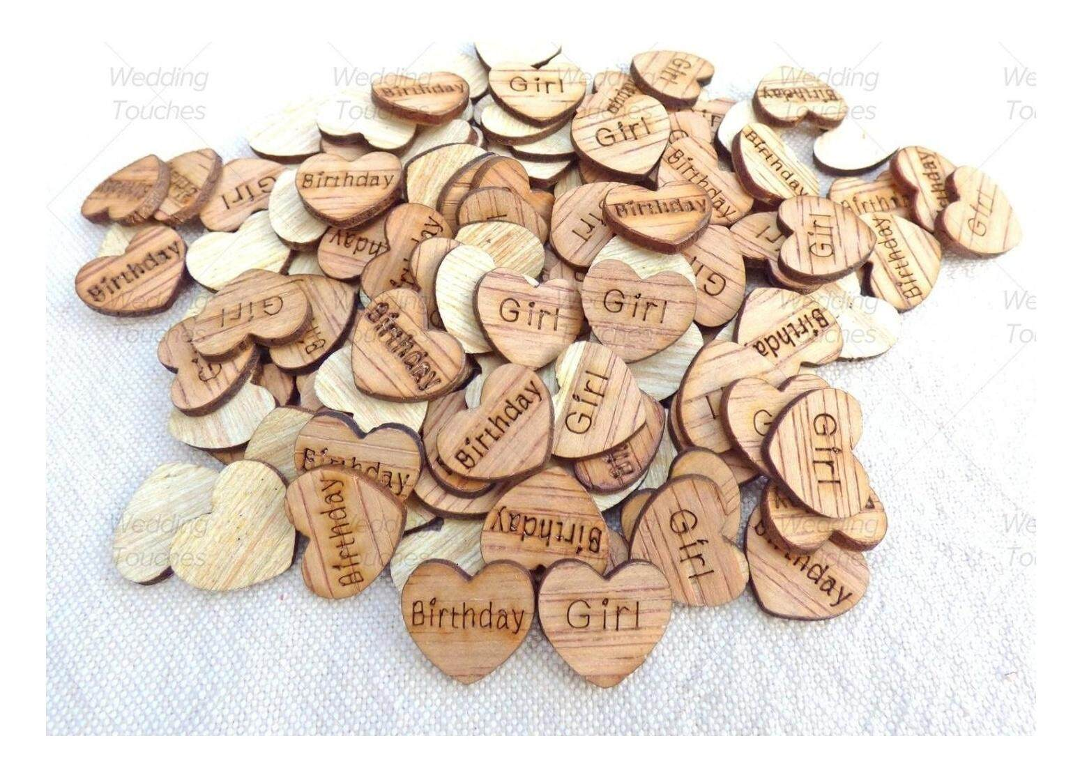 Baby Shower Wooden Shabby Chic Craft Scrapbook Vintage Confetti Hearts 15mm
